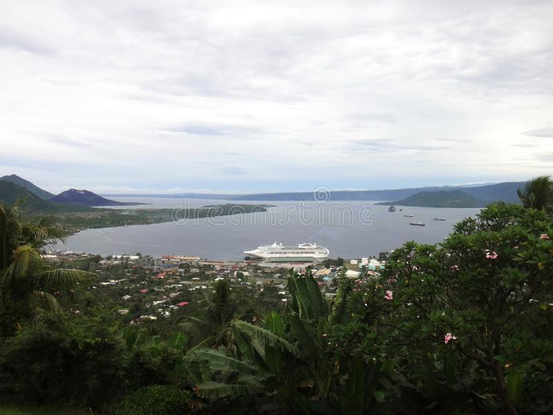 View of Rabaul and Simpson Harbour from Volcano Observatory Look. Out, Papua New Guinea stock photos