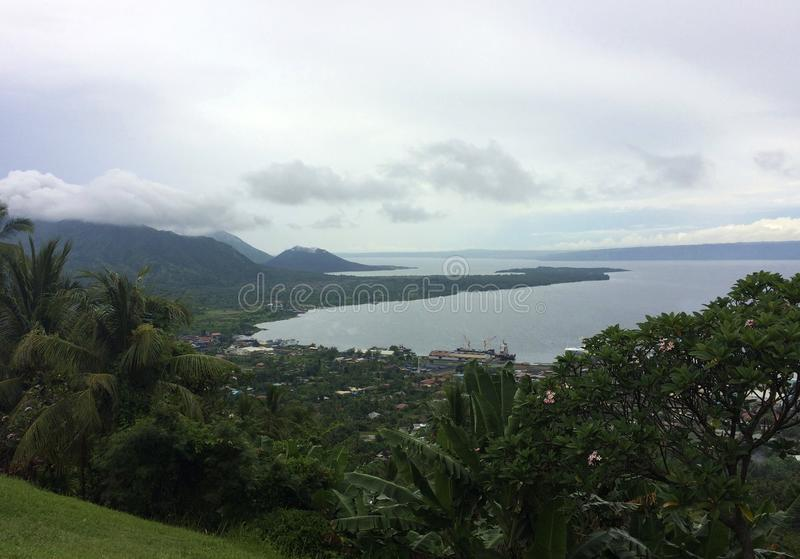 View of Rabaul and Simpson Harbour from Volcano Observatory Look. Out, Papua New Guinea stock images