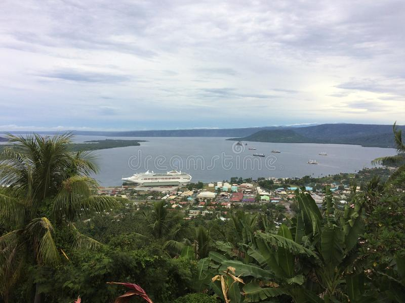 View of Rabaul and Simpson Harbour from Volcano Observatory Look. Out, Papua New Guinea stock photography