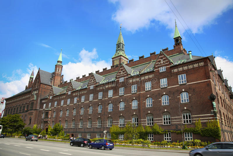 View of Radhus, Copenhagen city hall from H.C. Andersens Bouleva royalty free stock photos