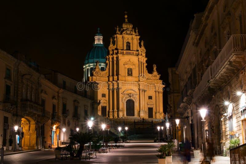 View of Ragusa Ibla at night royalty free stock photography