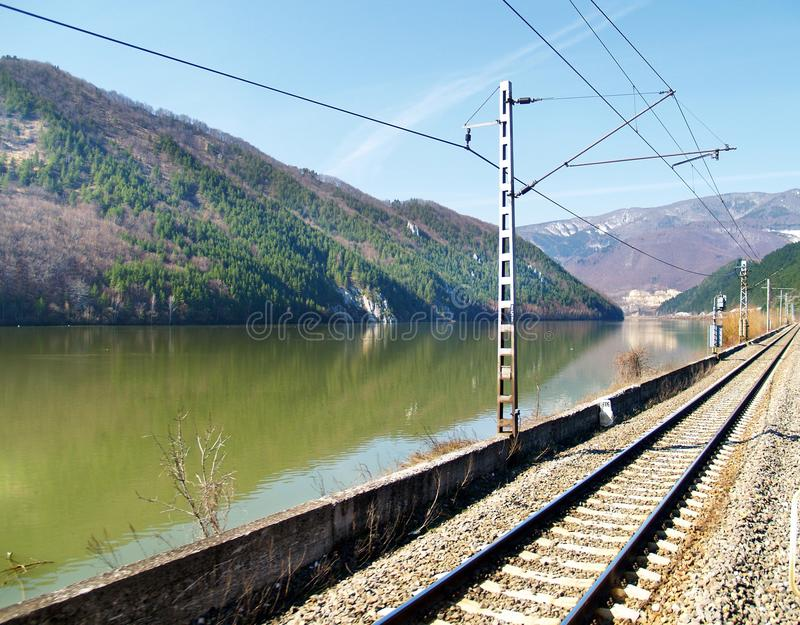 View Of Railroad And Lake Royalty Free Stock Images