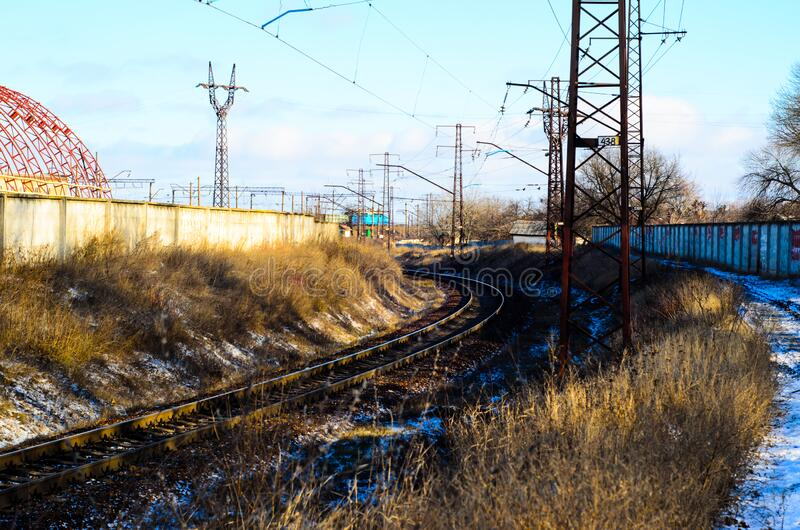 View on railroad track on winter royalty free stock photo
