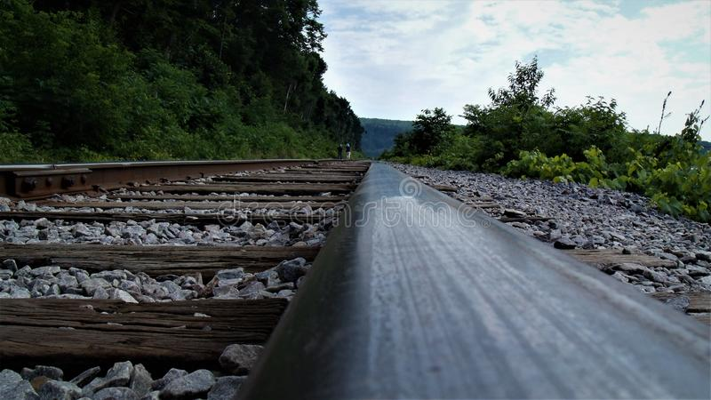 Along the tracks at Devils Lake royalty free stock photo