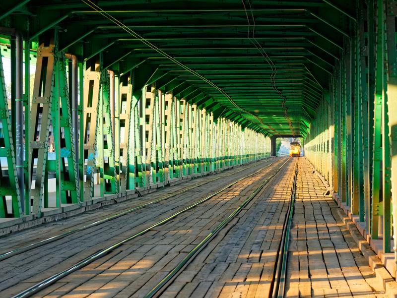 View at Rails Road over the Gdanski Bridge, Tramway bridge Warsaw,. Poland royalty free stock image