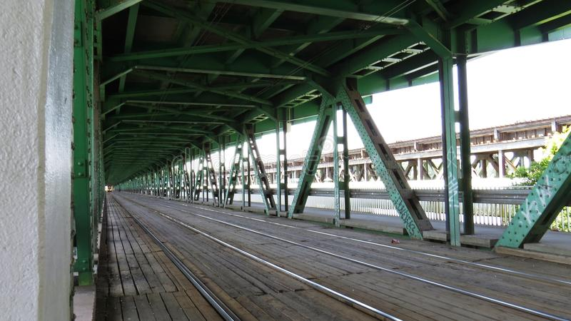 View at Rails Road over Gdanski Bridge, Warsaw, Poland. View at Rails Road over the Gdanski Bridge, Warsaw, Poland stock images