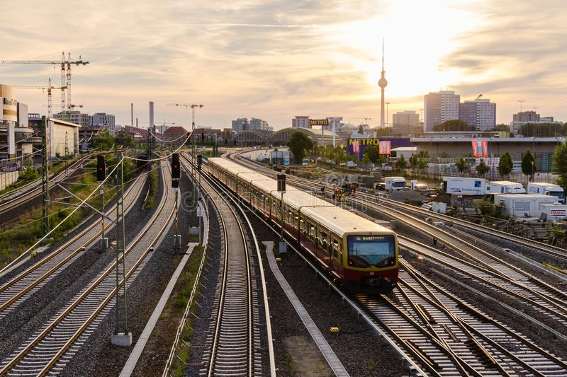 View of the railway tracks and TV tower from Warsaw bridge Wars. Berlin, Germany, June 6, 2018: view of the railway tracks and TV tower from Warsaw bridge Warsaw royalty free stock images