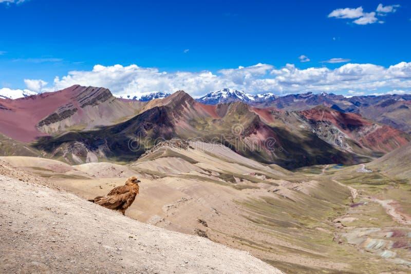 View of rainbow Mountains Of Peru. Peruvian Andes. Ausangate mountain. stock photo