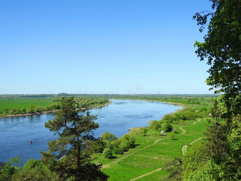 View from Rambynas hill in river Nemunas, Lithuania stock images