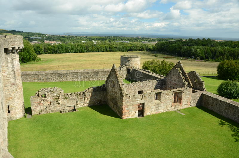 View From Ramparts. A view over the ruins from the ramparts of Craigmillar castle stock photos