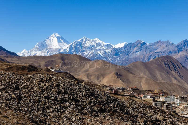 View on the Ranipauwa village near Muktinath. In lower Mustang, Nepal stock image