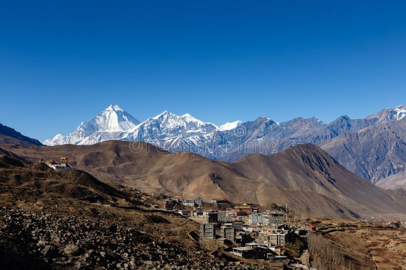 View on the Ranipauwa village near Muktinath. In lower Mustang, Nepal royalty free stock images