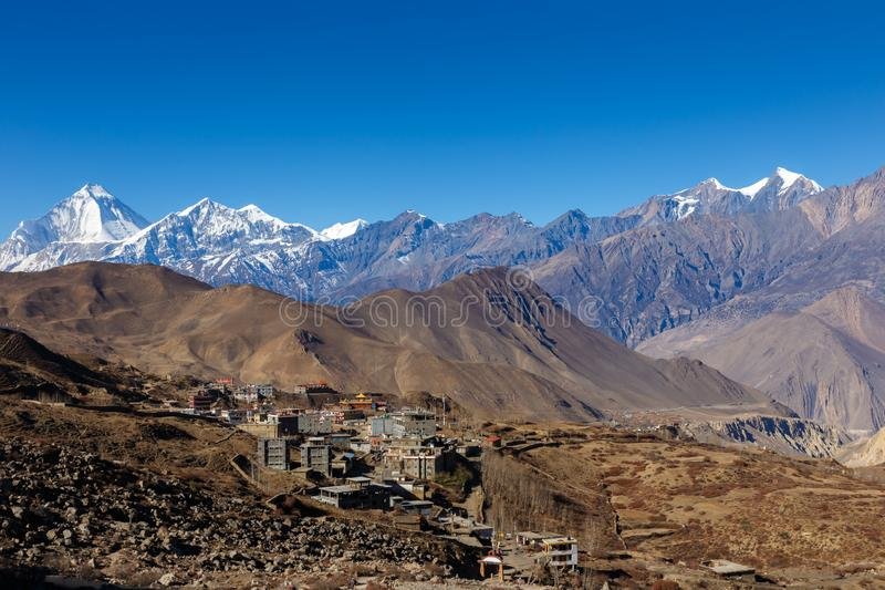 View on the Ranipauwa village near Muktinath. Nepal stock photography