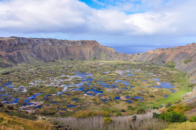 View of Rano Kau Volcano Crater on Easter Island, Chile. View of Rano Kau Volcano Crater on the most remote habited Easter Island, Chile stock images