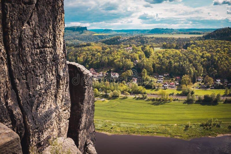 View of Rathen in Saxony Switzerland. Bastei Park, Elbe river, Sandstone mountains, Germany stock photo