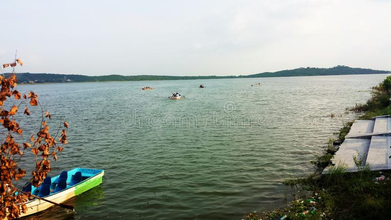 View of Rawal Lake`s boating in evening stock photo