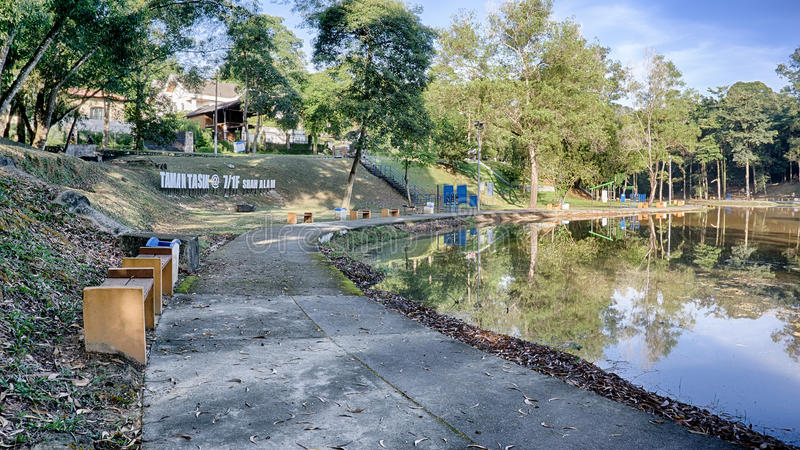 View of recreational park. Shah Alam, Malaysia, December 30, 2015 – A nature looking recreational park at Taman Tasik @ 7/1F, Shah Alam after sunrise. The stock photos