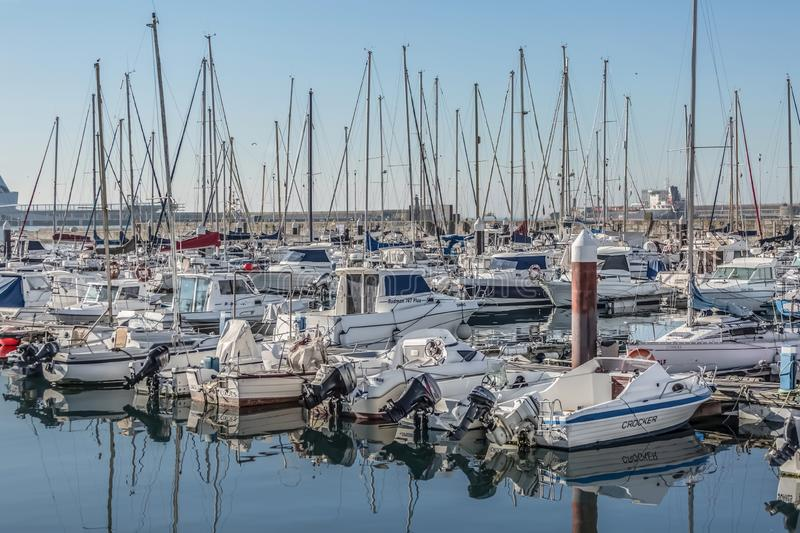 View of recreational and private boats in Leca da Palmeira marina royalty free stock image