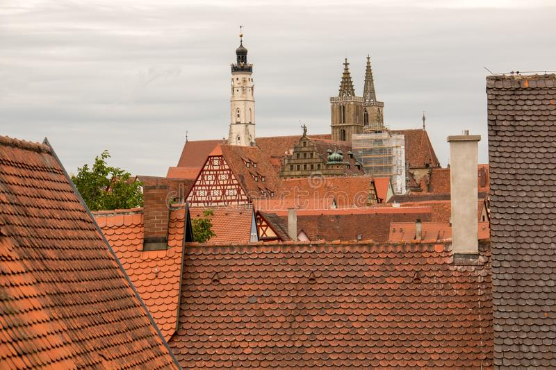 View of the Red Roof Tops of Rothenburg, Germany stock photo