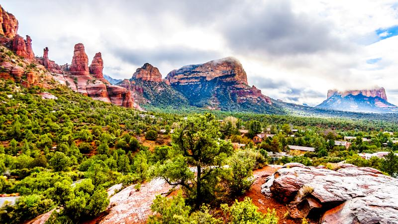 View of the red sandstone formations at Chicken Point viewed form the Chapel of the Holy Cross near Sedona. In northern Arizona, United States of America stock photos