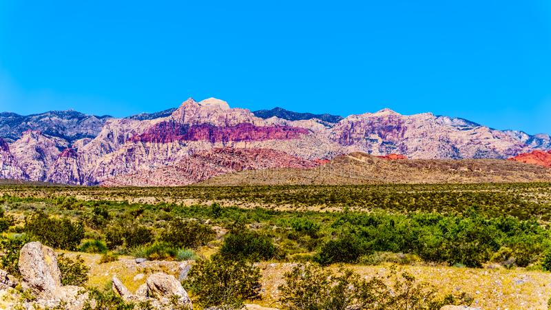 View of the Red Sandstone Mountains in Red Rock Canyon National Conservation Area stock images