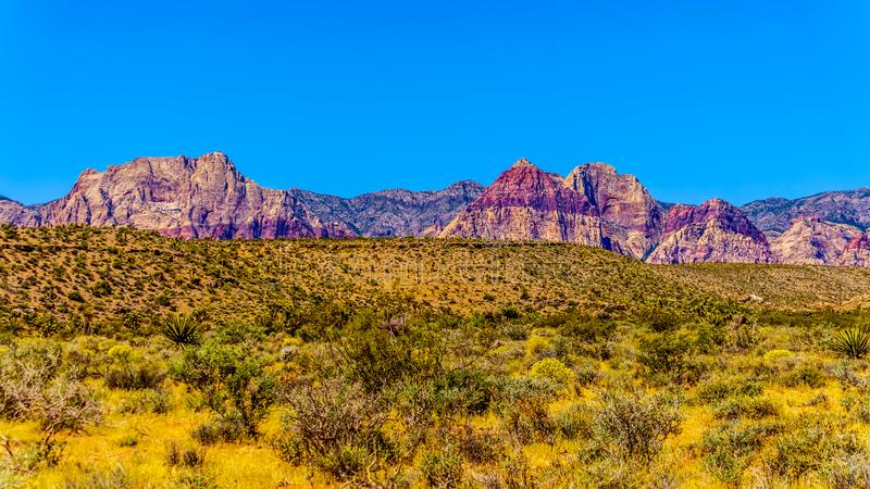 Red Sandstone Mountains of Red Rock Canyon National Conservation Area near Las Vegas, Nevada, USA royalty free stock image