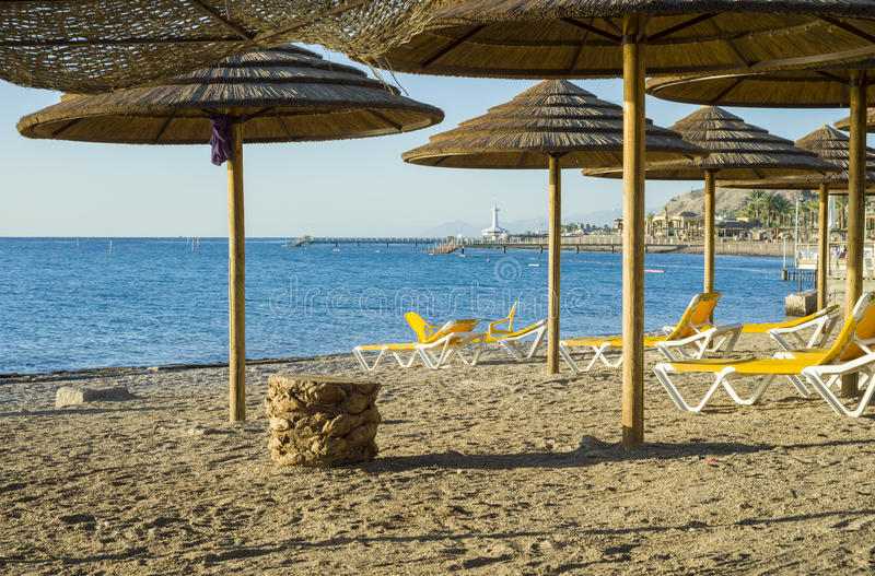 View on Red Sea and beach of Eilat royalty free stock image