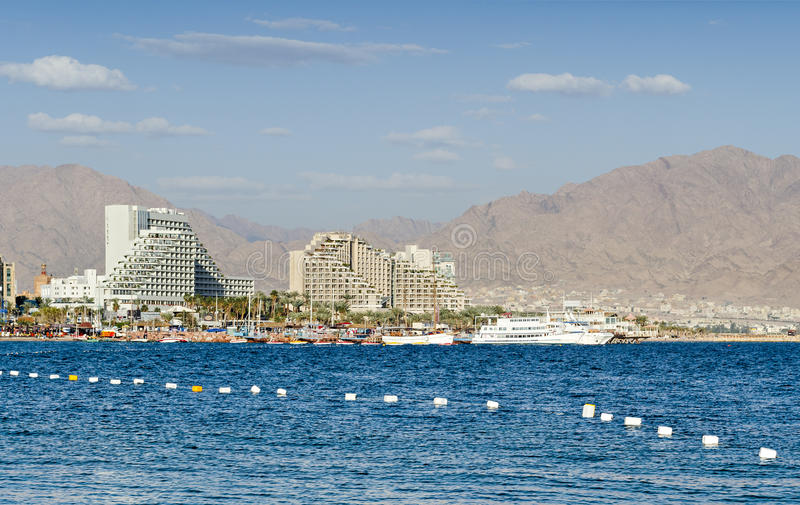 View on the Red Sea in Eilat, Israel. Eilat is a famous resort city in Israel stock photography