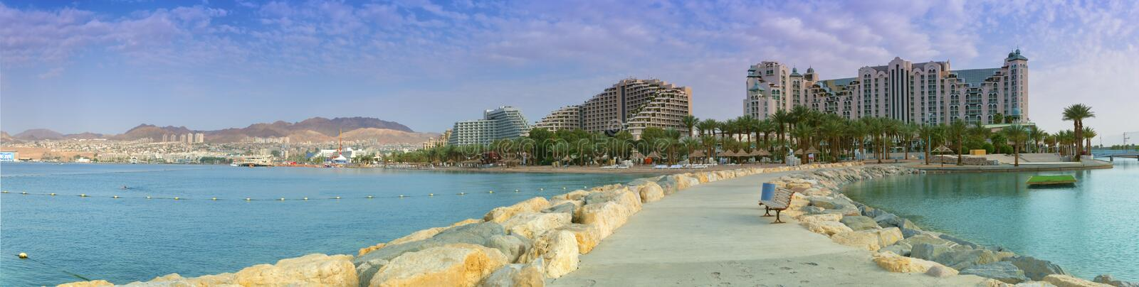 View on the Red sea and hotels , Eilat, Israel stock photo