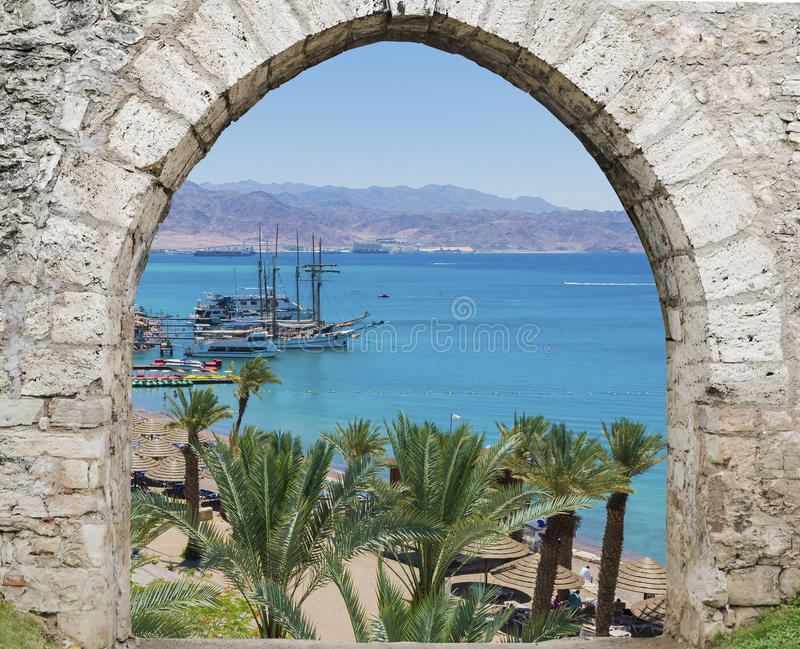 View on the Red sea, yachts and Aqaba, Eilat Israel royalty free stock photos