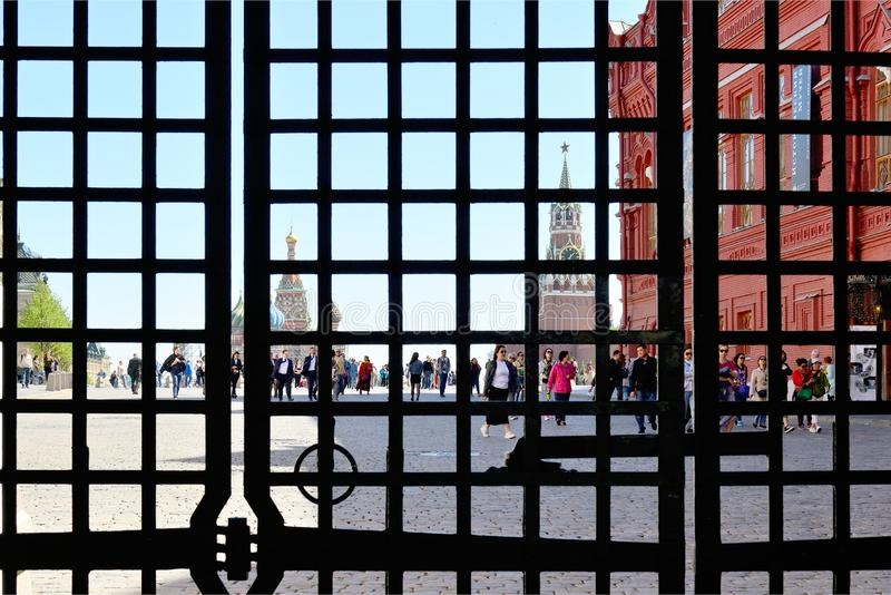 View of the Red Square through bars of the gate royalty free stock photos