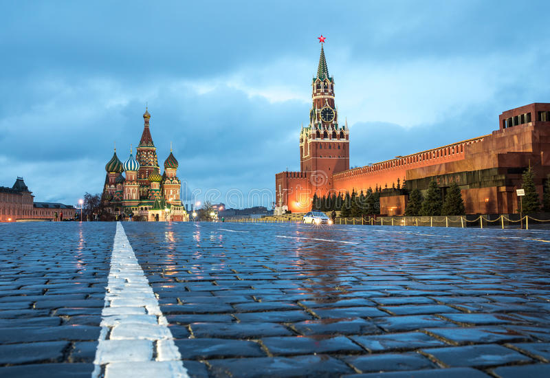 View of Red Square at dawn. stock photography