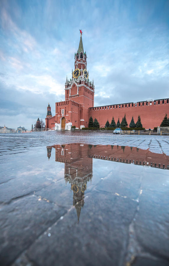 View of Red Square at dawn. stock photo