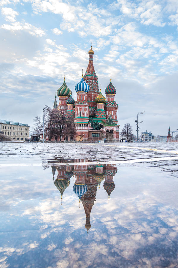 View of Red Square at dawn. stock image