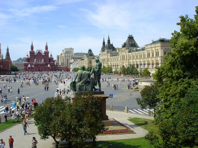 View on red square. Historical museum and gum of Moscow Kremlin at Red Square Russia stock photo
