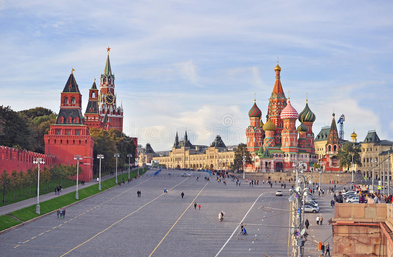 View of the Red Square and Kremlin towers in Moscow, Russia. MOSCOW, RUSSIA - OCTOBER 4: View of the Red Square and Kremlin towers in Moscow, Russia on October 4 stock image