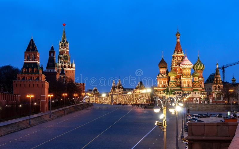 View of the Red Square with Mosvoretsky Bridge stock photo