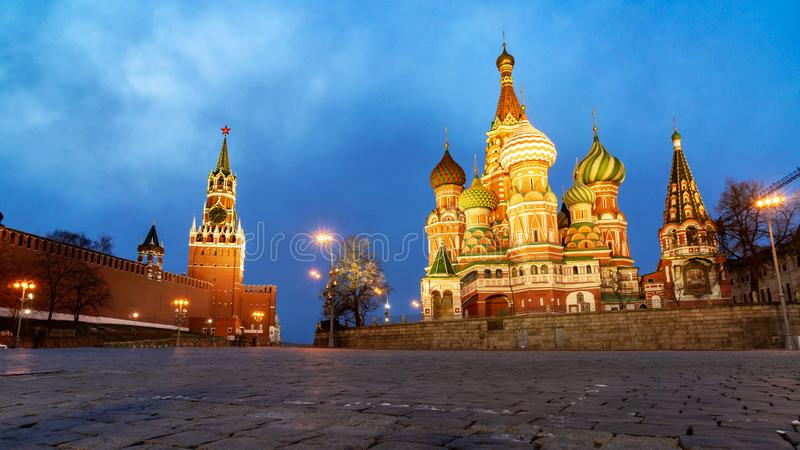 View of the Red Square with Vasilevsky descent stock photos