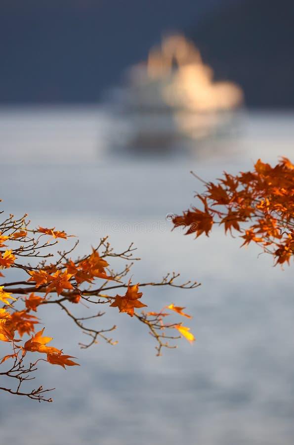 Red and yellow foliage of Japanese maple with Lake Ashi on the background. Hakone, Kanagawa. Japan stock photography