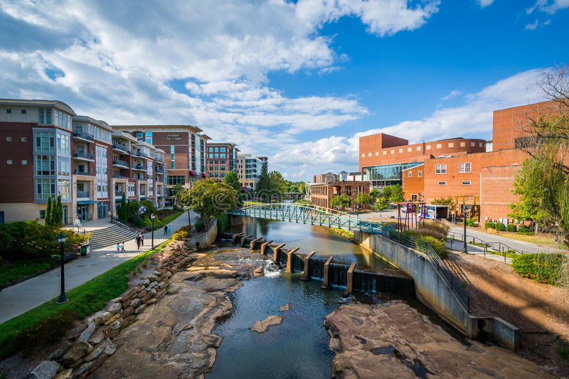 View of the Reedy River, in downtown Greenville, South Carolina. royalty free stock photos