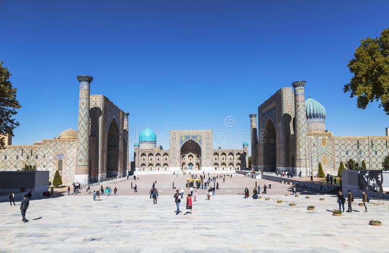 View of Registan square in Samarkand - the main square of the city with Ulugbek madrassas, Sherdor madrassas and Tillya-Kari madra stock photography