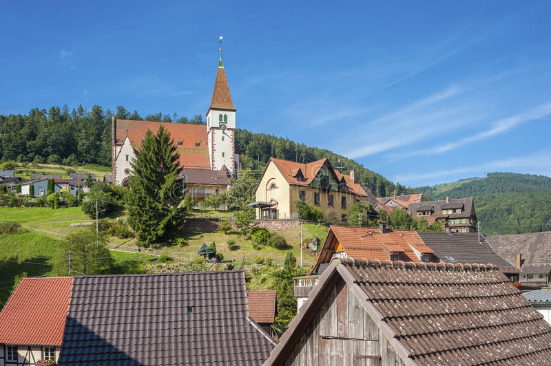 View on Reichental with the Holy Cross Church. Black Forest, Baden-Wurttemberg, Germany, Europe stock photos