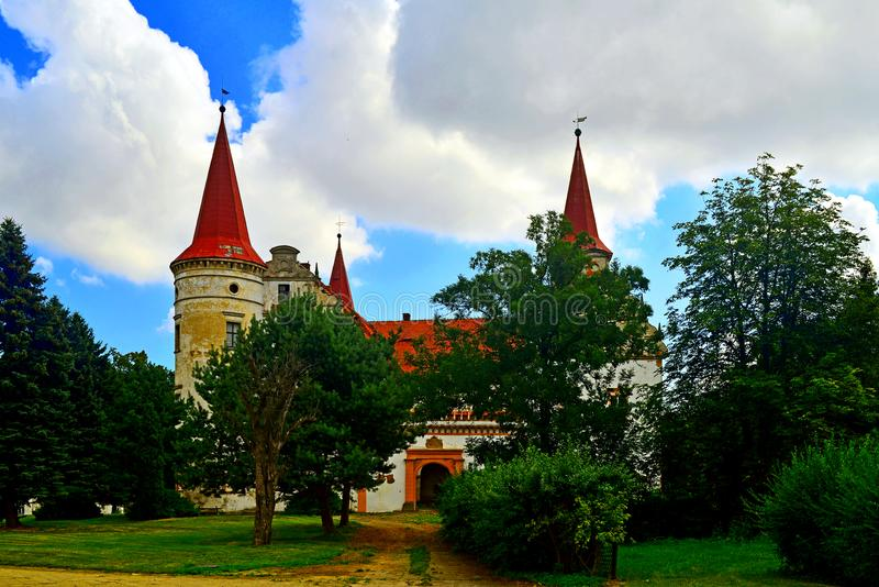 Ancient mysterious castle in Staszowice stock photography