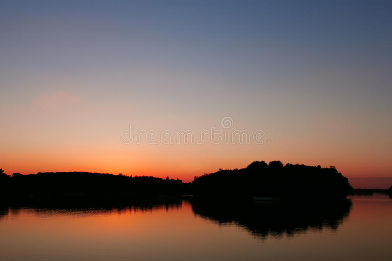 View reservoir after sunset royalty free stock photography