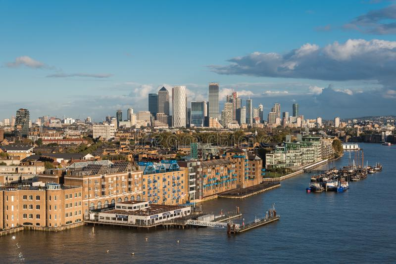 Aerial View of Apartment Buildings in London and Canary Wharf stock photography