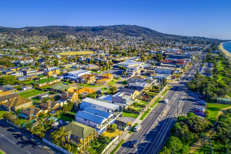 View of residential real estate in Dromana suburb. Aerial view of residential real estate in Dromana suburb on Mornington Peninsula, Victoria, Australia stock photography