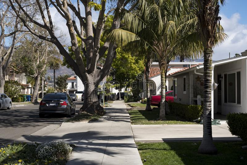 A view of a residential street in Santa Barbara, California stock photography