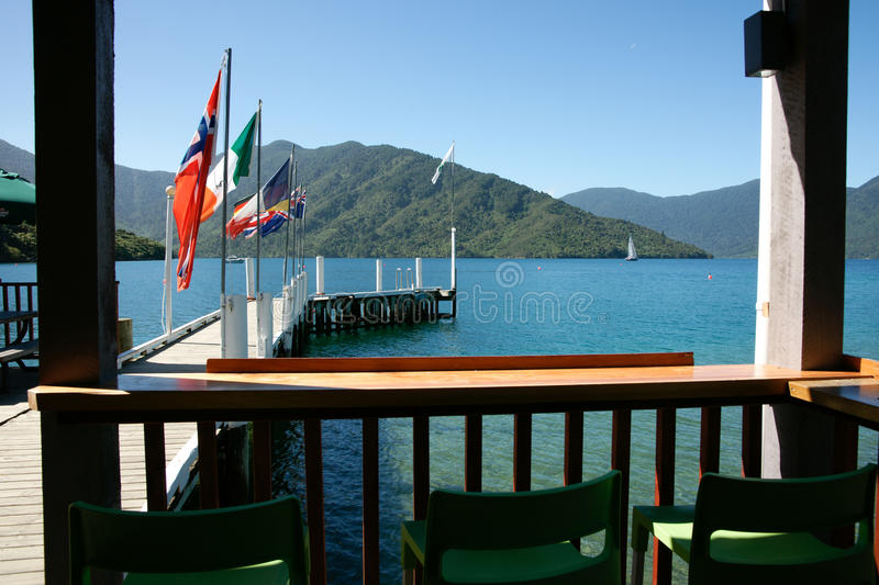 View from resort. South Island sceneic view from a resort in Marlborough Sounds, New Zealand royalty free stock image