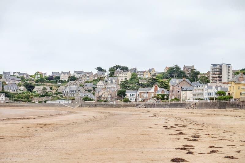 View of resort city on sea beach royalty free stock photo
