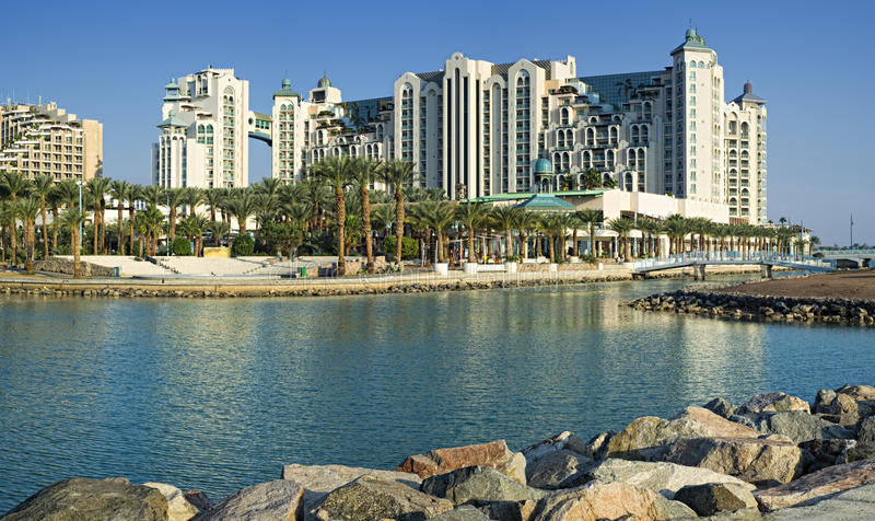 View on resort hotels of Eilat stock images